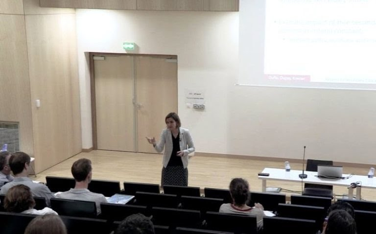 Esther Duflo during a lecture 768x478 1