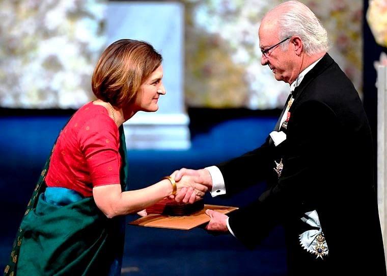 Esther Duflo receiving the Nobel Prize