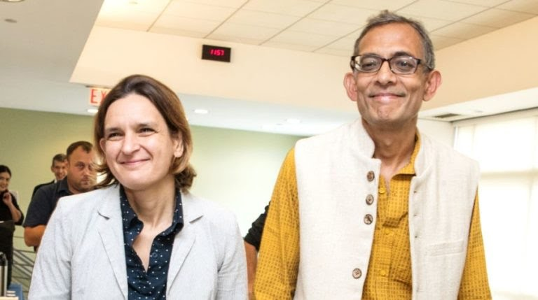 Esther Duflo with her husband Abhjit Banerjee 768x429 1