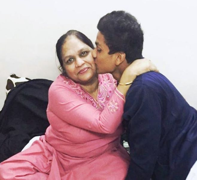 Manjot Kalra With His Mother