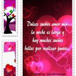 Bonitas tarjetas con mensajes de buenas noches para mi novia
